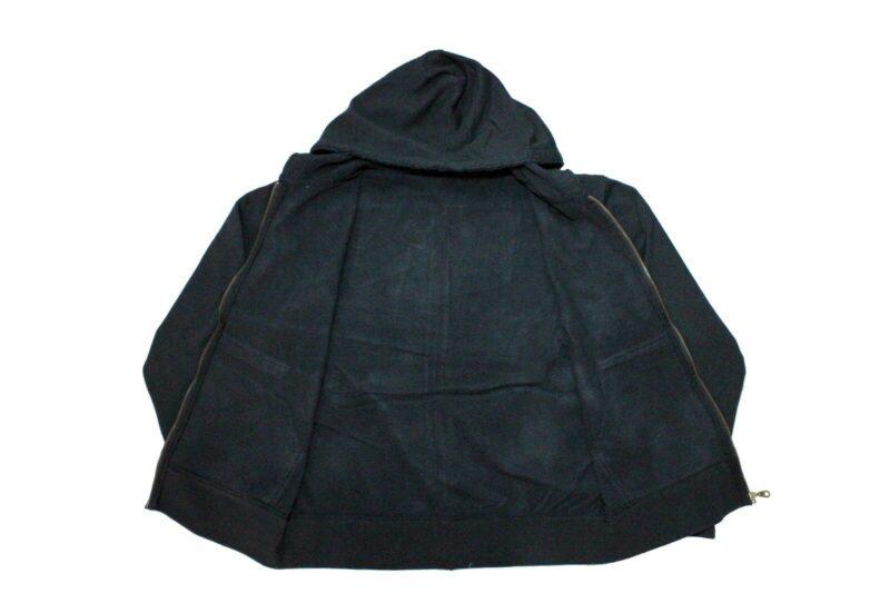 Vintage Black Drawstring Zip Hoodie 3