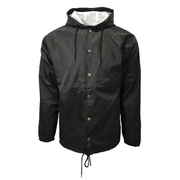black hooded windbreaker