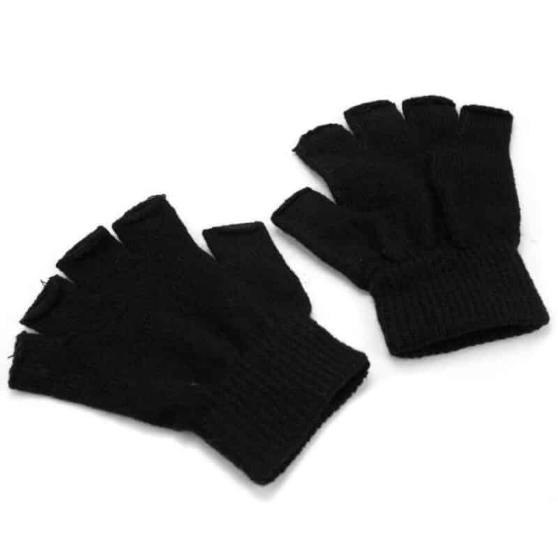 Black Knitted Fingerless Gloves 1