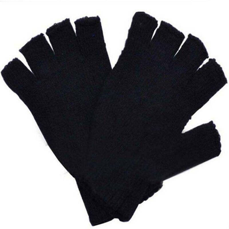Black Knitted Fingerless Gloves