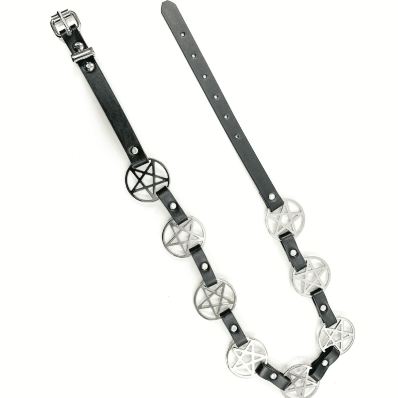 Pentagram Link Leather Belt 2