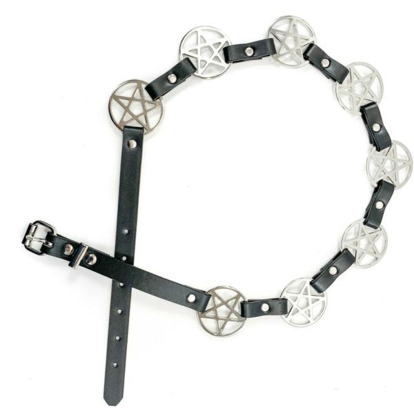 Pentagram Link Leather Belt