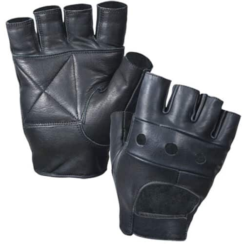 Black Fingerless Biker Gloves