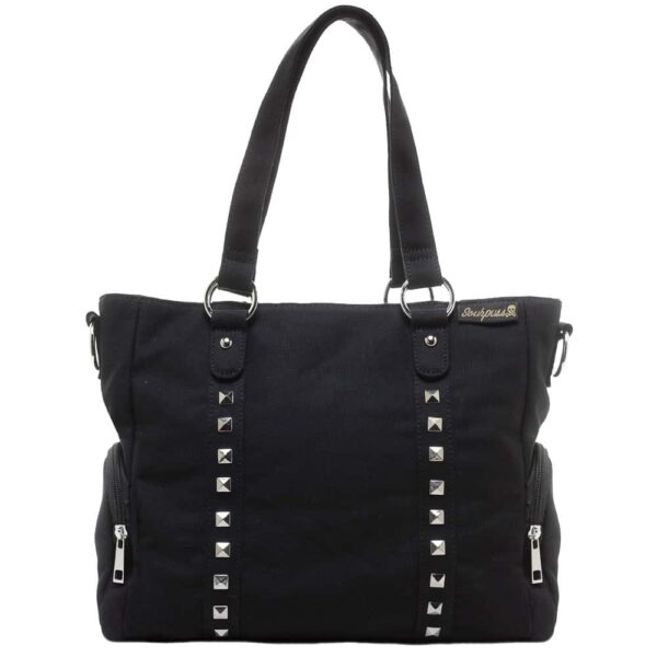 Black Leda Canvas Purse Studded by Sourpuss Clothing