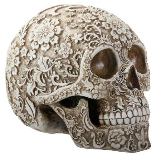 Floral Print Skull Head