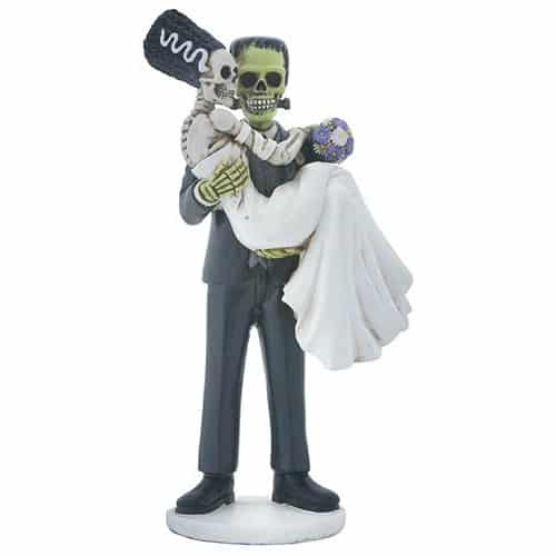 Frankenstein and Bride Skeleton Wedding Couple Figurine 1