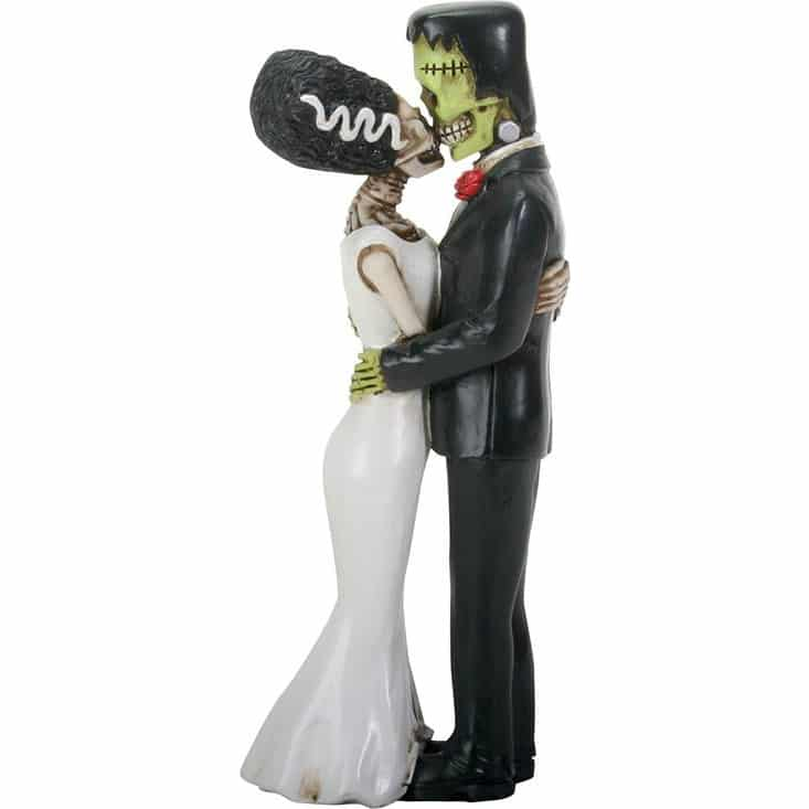 Frankenstein and Bride Skeleton Couple Kissing Figurine 1