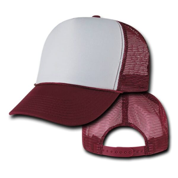 Burgundy and White Trucker Hat