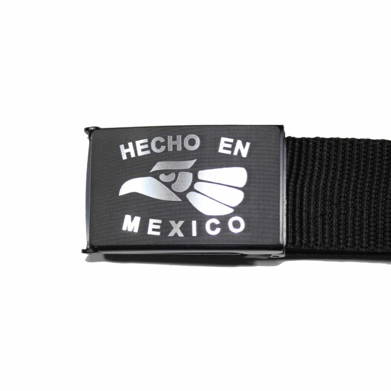 Black and Silver Hecho En Mexico Buckle Web Belt 1