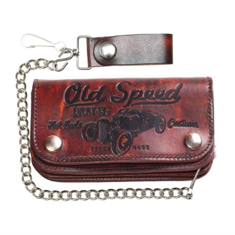 """Lucky 13 Wallet Old Speed 6"""" Bi-Fold w/Chain"""
