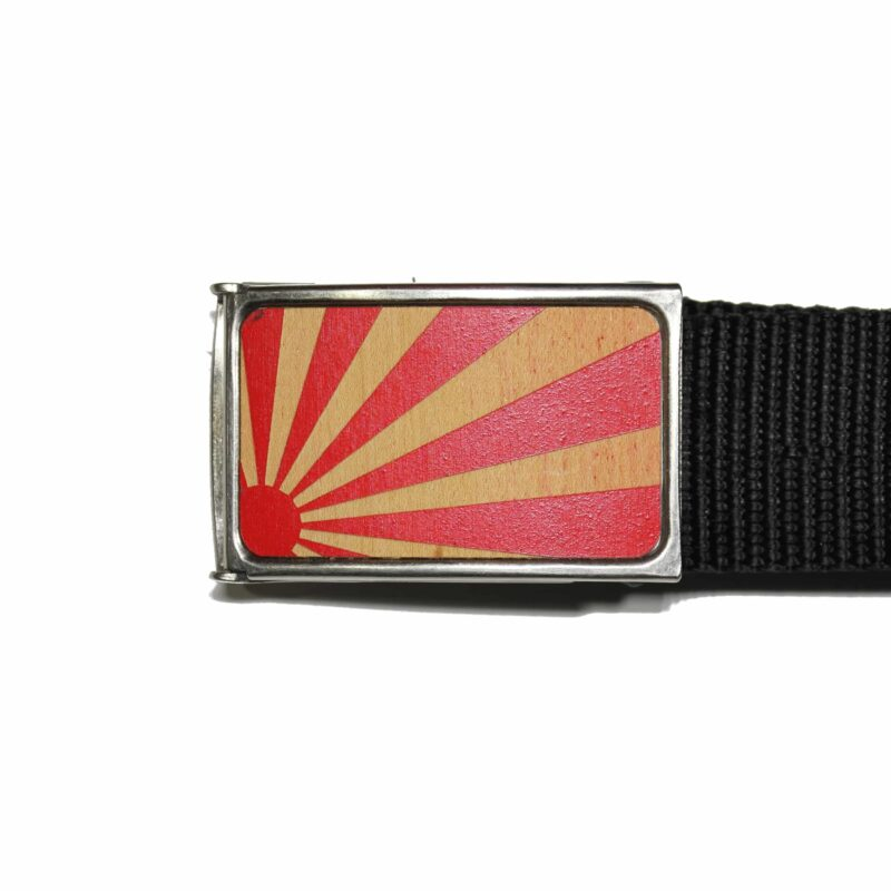 Red and Brown Rising Sun Buckle Web Belt 1