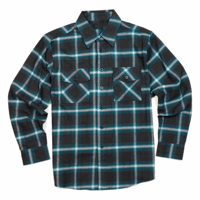 Teal Gray White Plaid Flannel