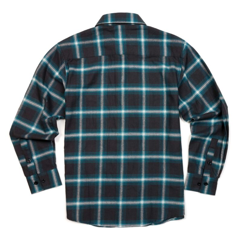 Teal and Gray Plaid Flannel Shirt 1