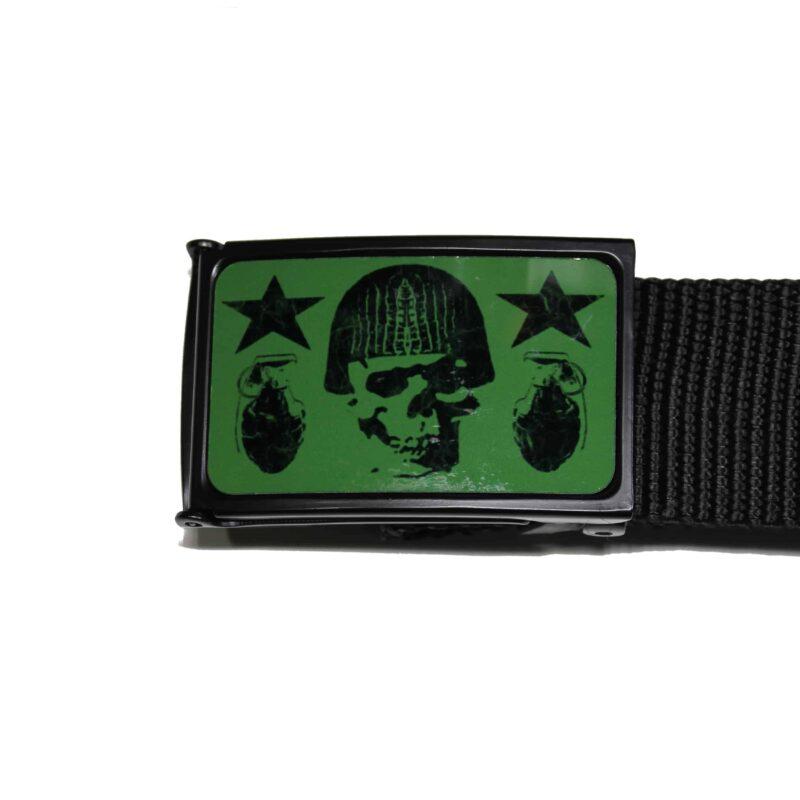 Web Belt Olive and Black Skull w/ Grenades 1