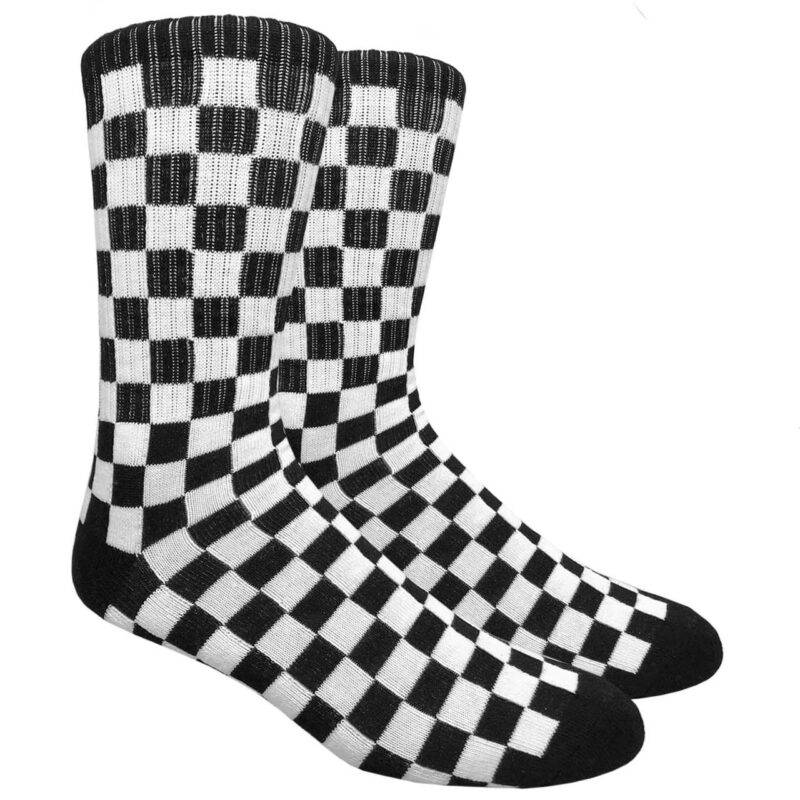 Black and White Checkered Socks