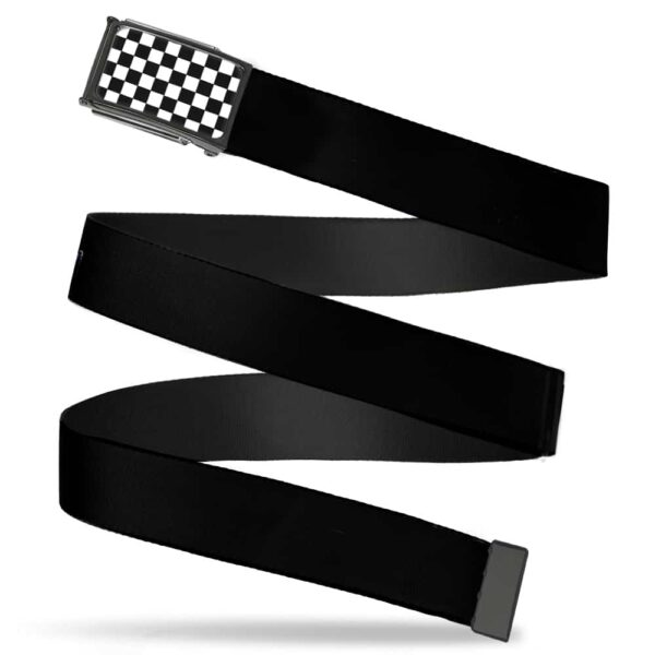 Black and White Checkered Buckle Web Belt
