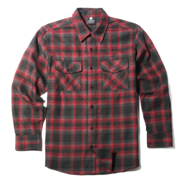 Red Gray Checkered Flannel