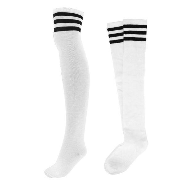 White with Black Stripes Knee High Socks
