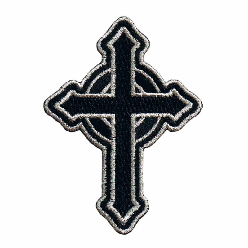 Silver and Black Celtic Cross Patch