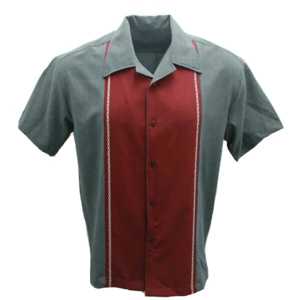 Burgundy Charcoal Bowling Shirt by Steady Clothing