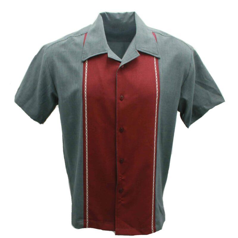 Burgundy Charcoal Bowling Shirt by Steady Clothing