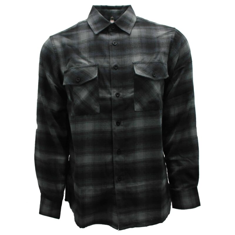Charcoal and Gray Plaid Flannel Shirt 1