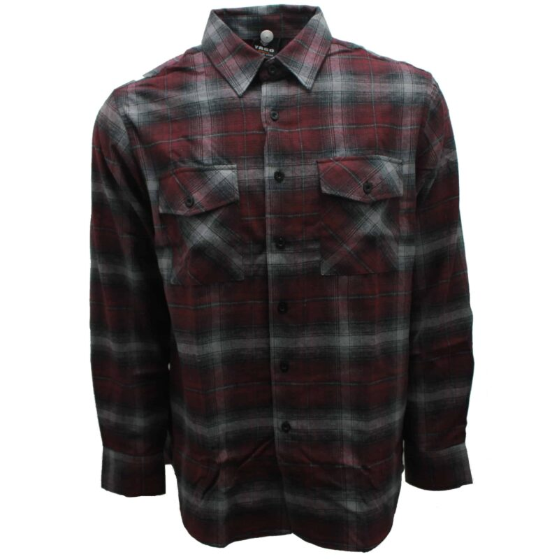 Burgundy and Gray Plaid Flannel 1
