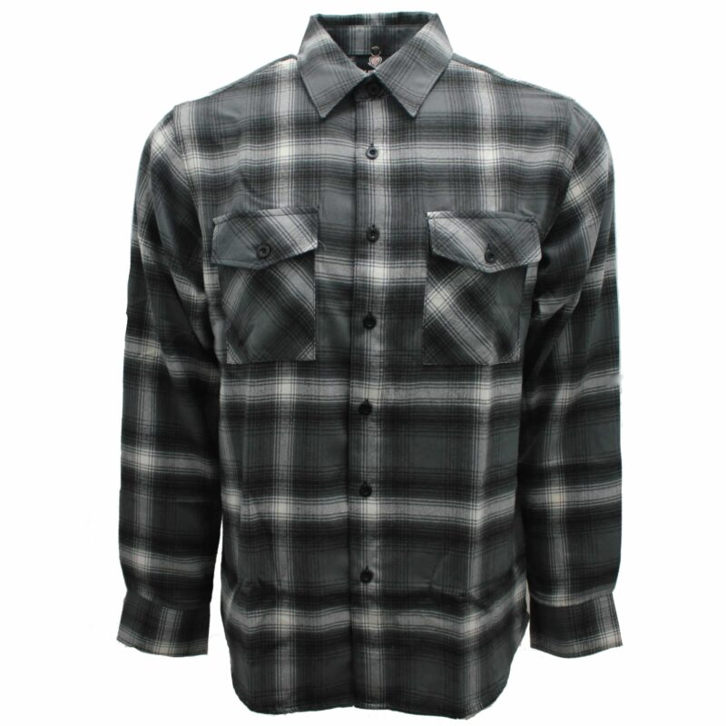 Gray and White Plaid Flannel Shirt 1