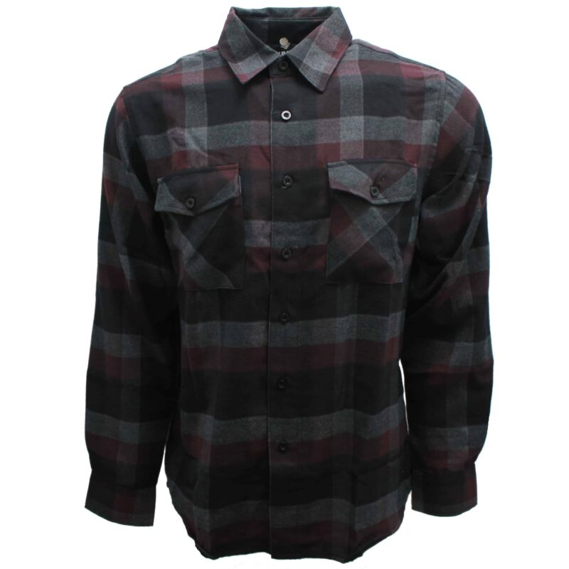 Maroon and Black Checkered Flannel 1
