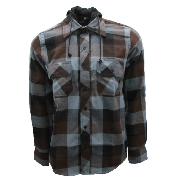 brown buffalo plaid hooded flannel