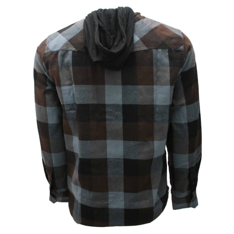 Brown and Gray Hooded Flannel 1