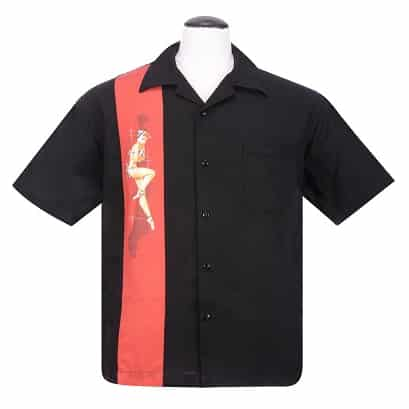 Black Red Pinup Bowling Shirt