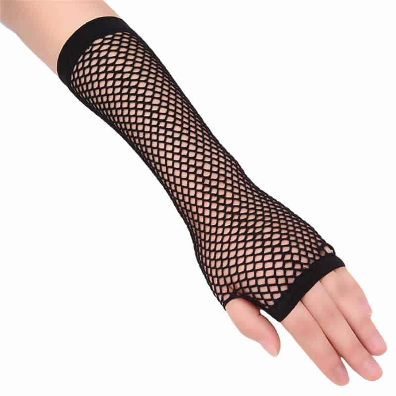Long Fingerless Fishnet Gloves 1