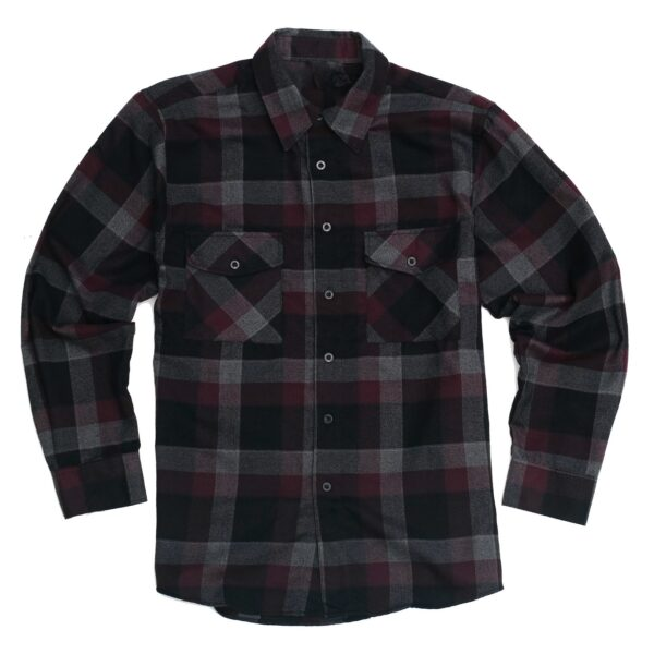 Dark Maroon Black Checkered Flannel