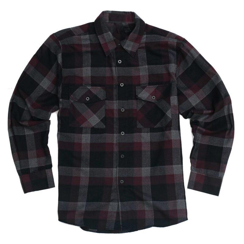 Dark Maroon Black Checkered Flannel