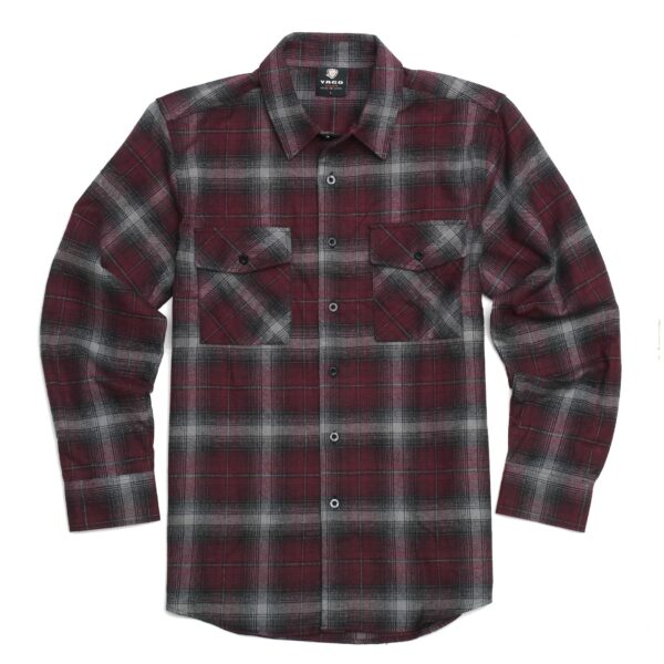 Burgundy Gray Plaid Flannel