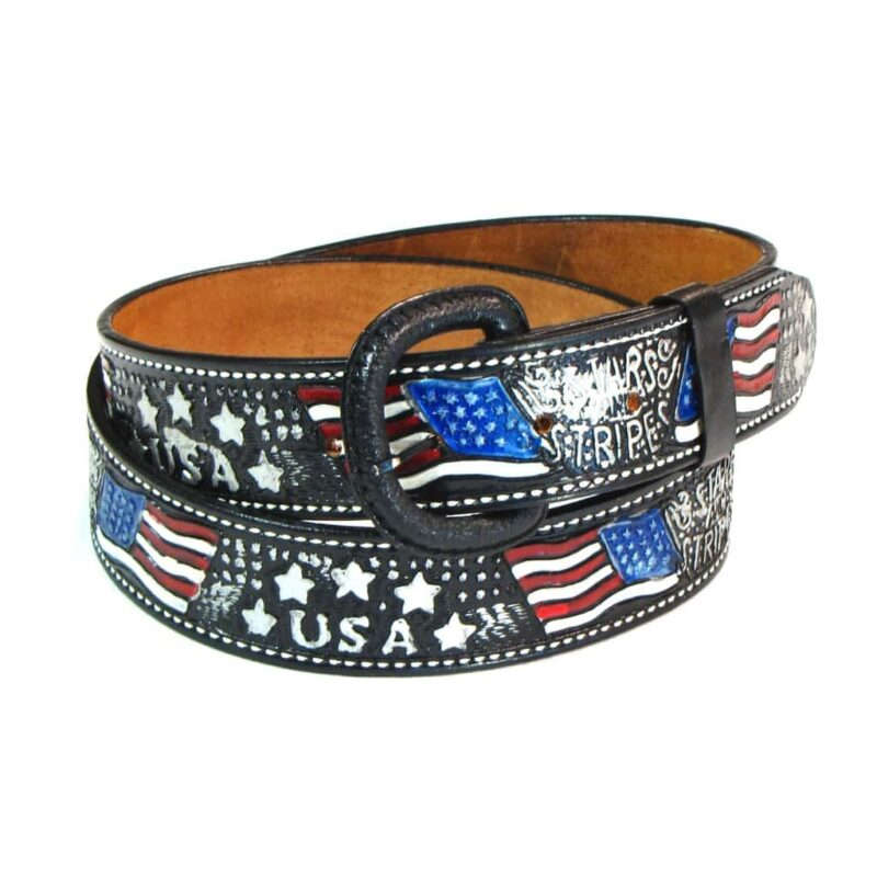 USA STRIPES AND STARS FLAG EMBOSSED GENUINE LEATHER BELT 1