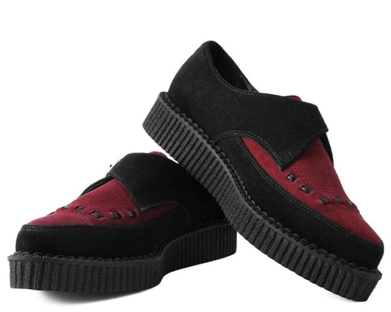TUK Burgundy Suede Pointed Creeper A9592 1