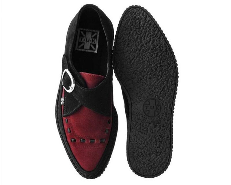 TUK Burgundy Suede Pointed Creeper A9592 3