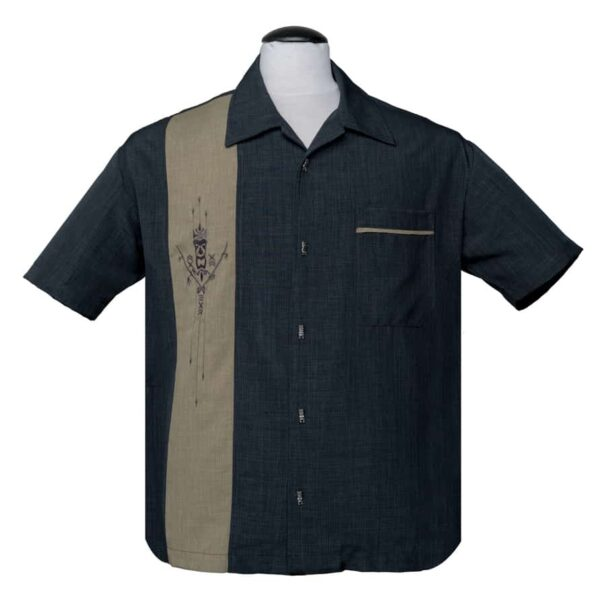 Charcoal Tiki Bowling Shirt by Steady Clothing