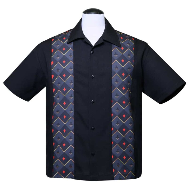 Black Cardsuit Bowling Shirt by Steady Clothing