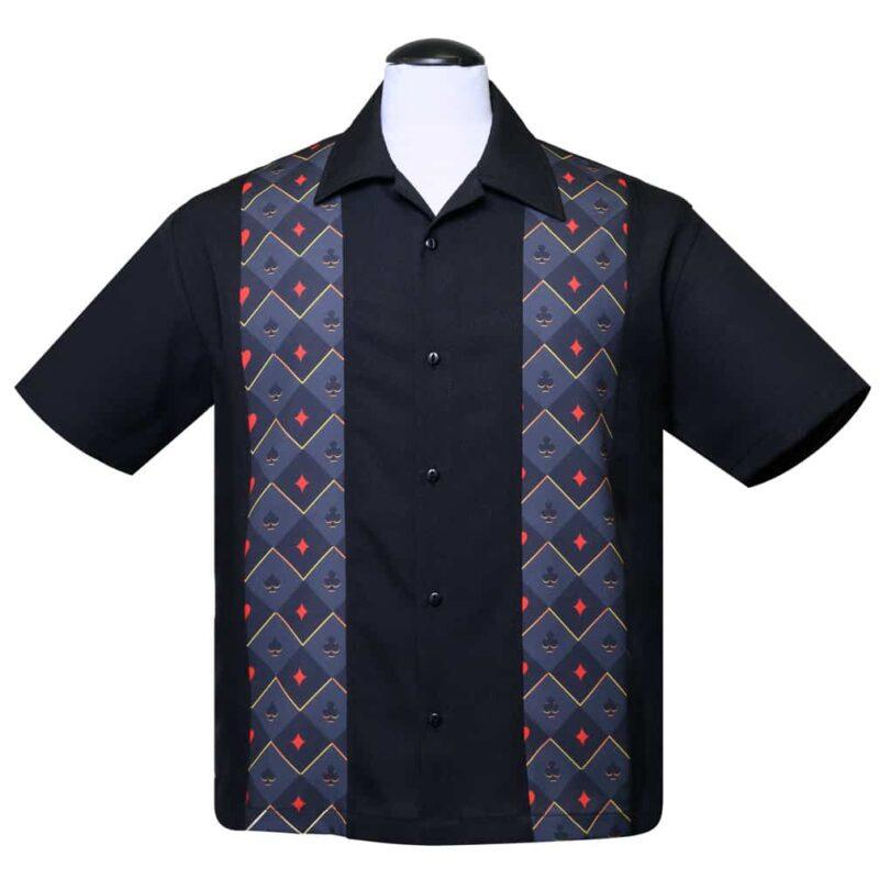 Cardsuit panel black bowling shirt