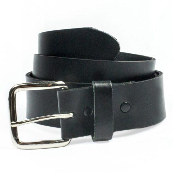 Plain Leather Belt Oil Tanned Black