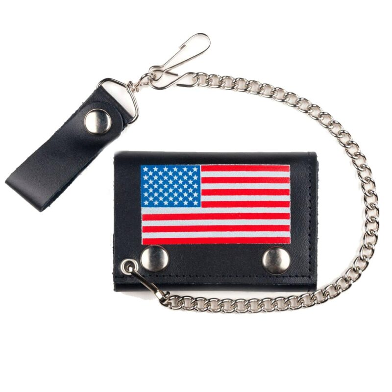 USA FLAG TRI-FOLD WALLET WITH CHAIN