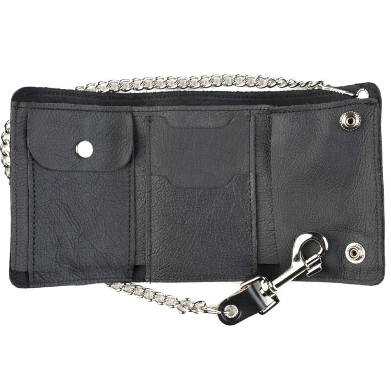 Skull and Crossbones Mid-Size Tri-Fold Wallet w/Chain 1