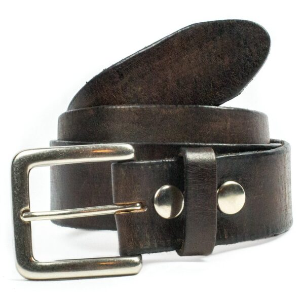 Plain Leather Belt Distressed Brown