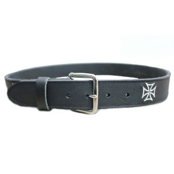 Embroidered White Iron Cross Black Belt