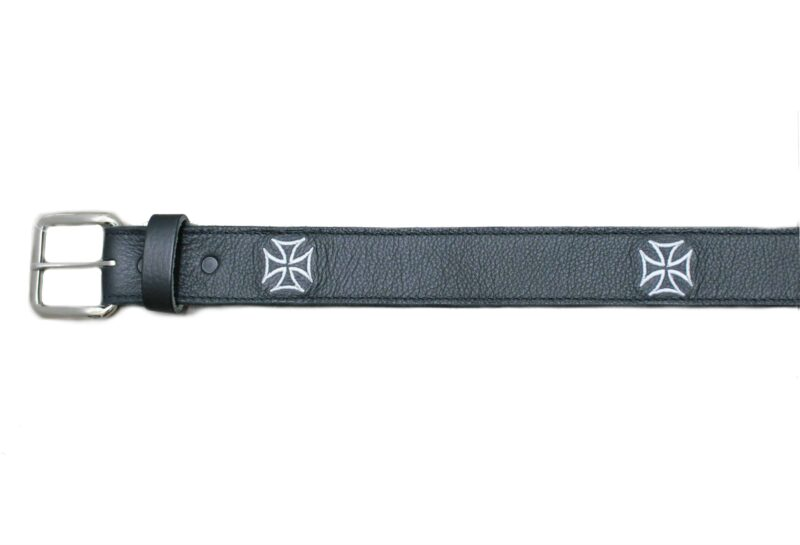 Embroidered White Iron Cross Black Belt 2