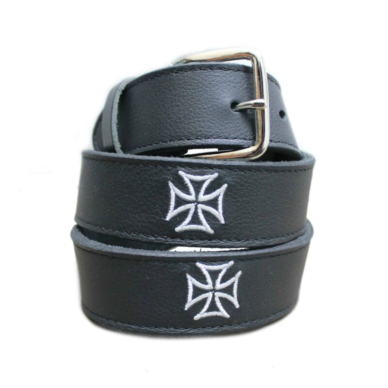 Embroidered White Iron Cross Black Belt 1