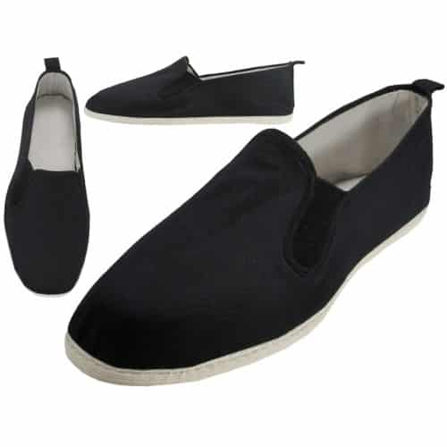 Black Kung Fu Shoes w/White Fabric Sole